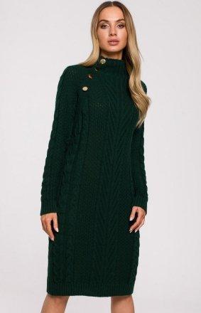 Sweterkowa sukienka zielona M635
