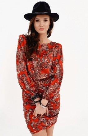 Ołówkowa sukienka z bufiastymi rękawami red 0280/S24
