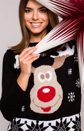 Świąteczny sweter czarny renifer MXS04