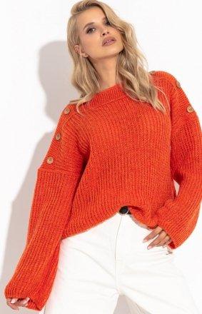 Oversizowy sweter z guziczkami orange F1265
