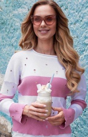 FIMFI I296 sweter pudrowy róż