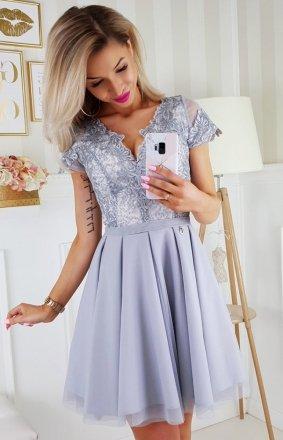 Sukienka z koronkową górą szara 2180-03
