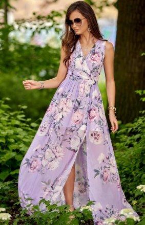 Szyfonowa długa sukienka letnia kolorowa 0209 R59