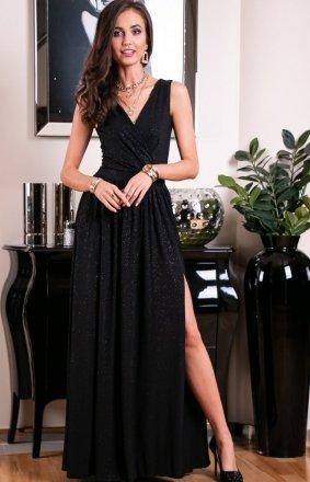 Wieczorowa sukienka z brokatem czarna 224