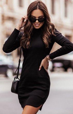 Prążkowana mini sukienka czarna Marinessa