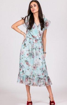 Szyfonowa sukienka w kwiaty 0250/D13
