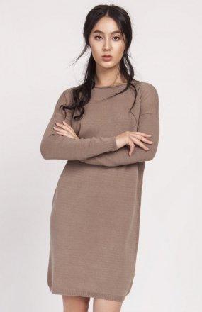 Dzianinowa sukienka mocca SWE122