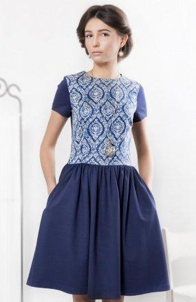 Kasia Miciak design porcelanowa sukienka granat