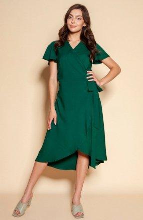 Kopertowa sukienka z asymetrycznym dołem zielona SUK198