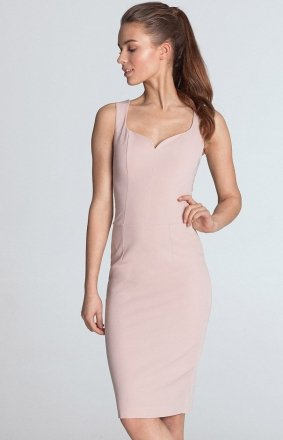Ołówkowa sukienka z dekoltem s113