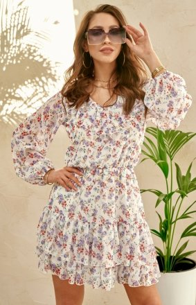 Kwiatowa sukienka z wiązaniem 0325/S64