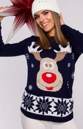 Świąteczny sweter granatowy renifer MXS04