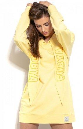 Długa bluza z kapturem żółta F931