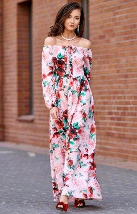 Elegancka długa sukienka w kwiatowy print 0245/S03