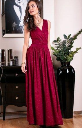 *Wieczorowa sukienka z brokatem bordowa 224