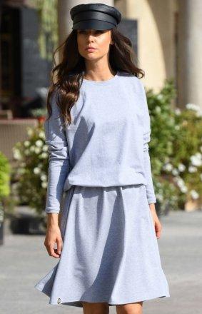 Bawełniana sukienka jasnoszara L347