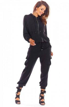 Sportowa czarna bluza z kapturem A294