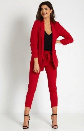 Elegancki czerwony garnitur damski T16