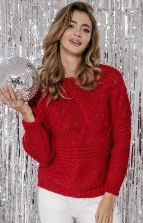 Ciepły sweter damski red F861