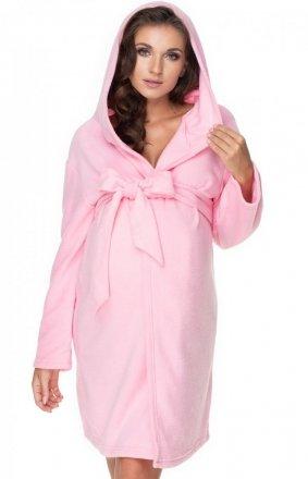 Różowy ciążowy szlafrok polar 0148