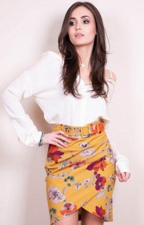 *Musztardowa spódnica w kwiaty 0021