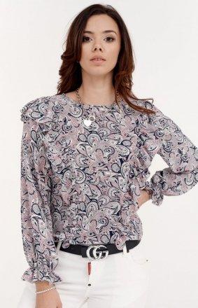 Wzorzysta koszula z falbankami 059/S28