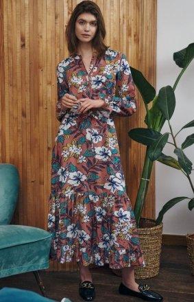 Długa sukienka w kwiaty S168