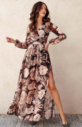 Długa sukienka w kwiaty 0219/U93