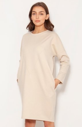 Oversizowa sukienka w typie bluzy beż SUK191