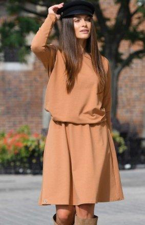 *Bawełniana sukienka karmelowa L347