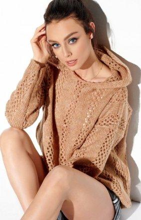 Ażurowy sweterek z kapturem karmelowy LS283