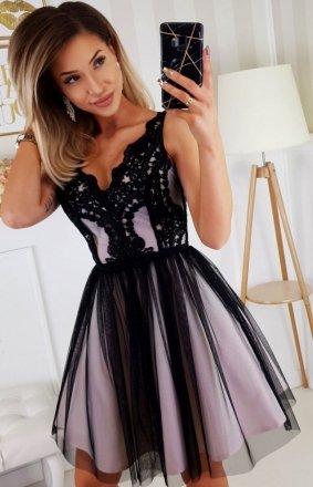 Rozkloszowana sukienka z koronką czarno-beżowa Bicotone 2206-16