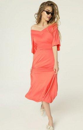 Koralowa sukienka z dekoltem Evie MAD489