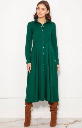 Koszulowa sukienka maxi zielona SUK190