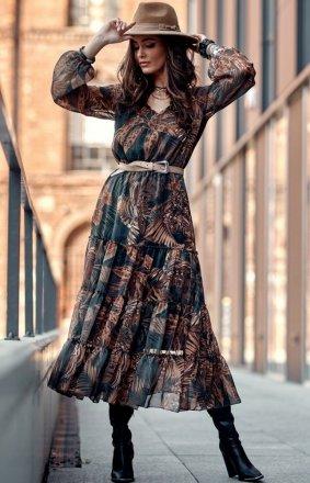 Elegancka sukienka midi w kolorowe kwiaty 0304/U05
