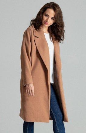 Elegancki wiązany płaszcz damski beżowy L054