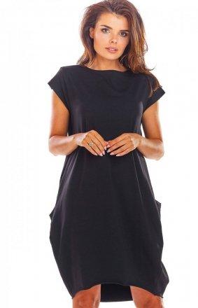 Sportowa sukienka z kieszeniami czarna M206