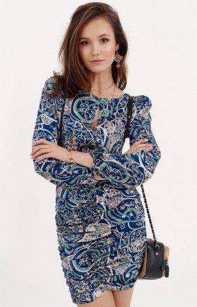 *Ołówkowa sukienka z bufiastymi rękawami 0280/S23