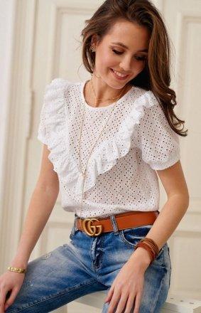 Ażurowa bluzka z falbankami biała 0063