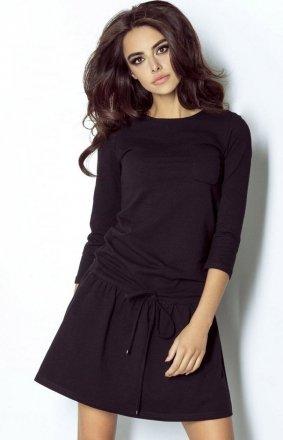 Sportowa sukienka dzienna czarna Anette