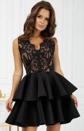Rozkloszowana sukienka z pianką czarna 2122-16