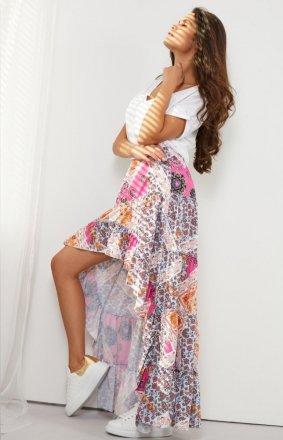 Asymetryczna sukienka z falbaną LG544/D16