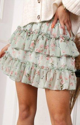 Mini spódniczka w kwiaty zielona 04