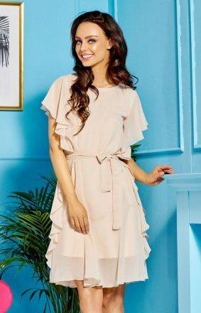 Zwiewna beżowa sukienka z falbankami L303