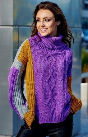 Kolorowy sweter w paski LS233 fioletowy