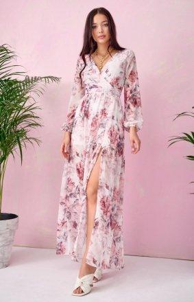 Długa sukienka w kwiaty 0219/U67
