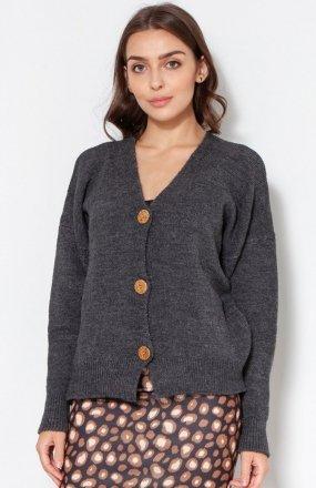 Sweter na duże guziki grafit SWE131