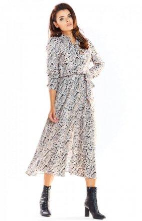 Koszulowa długa sukienka A324 szary print