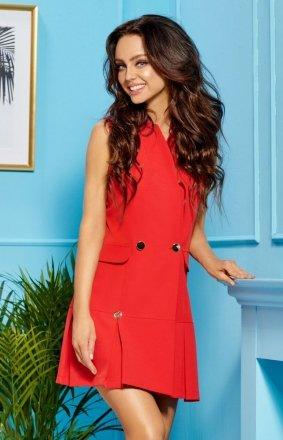 Marynarkowa sukienka czerwona L305