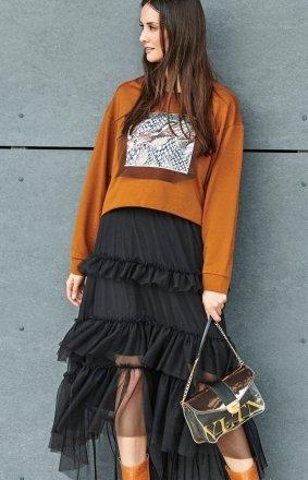 Tiulowa czarna spódnica midi NU184